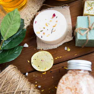 Flat lay of assorted natural body products