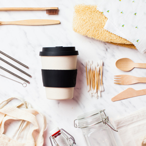 Flat lay of assorted zero waste utensils and items