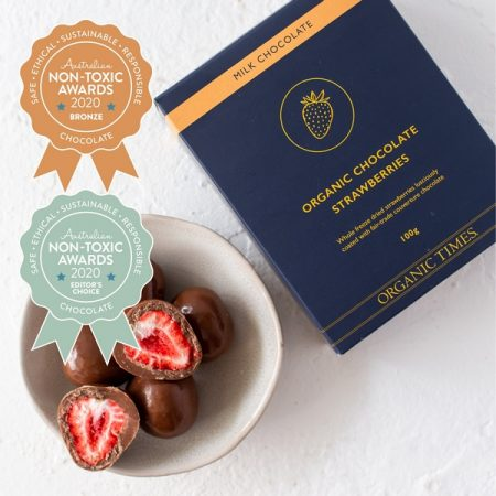 Organic Times – Milk Chocolate Coated Strawberries