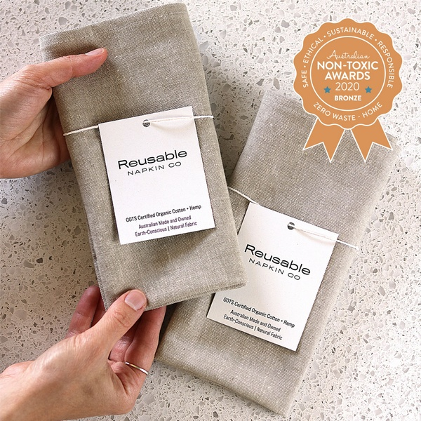 Reusable Napkin Co – Latte Organic Cotton + Hemp Napkin