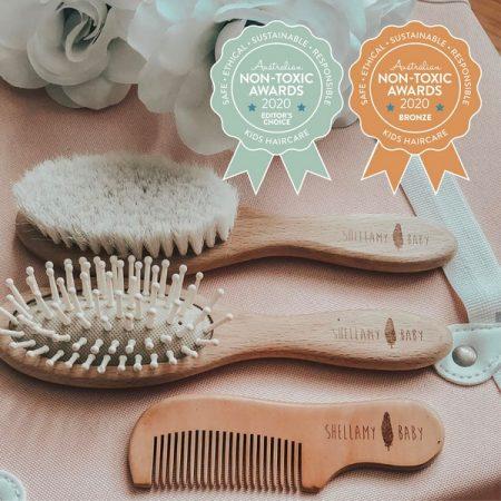 Shellamy Baby – Wooden Baby Hair Brush Set