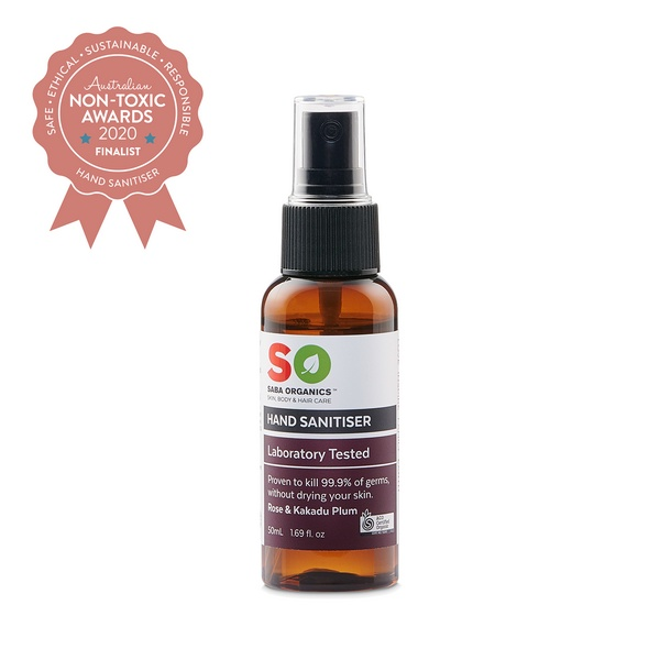 Finalist Saba Organics - Certified Organic Hand Sanitiser - Rose & Kakadu Plum